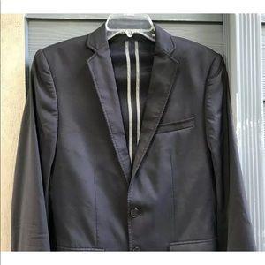 Zara Man Blazer Sz 36 Black Stretch Pockets Lined